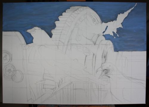 work in progress, seagull & crows