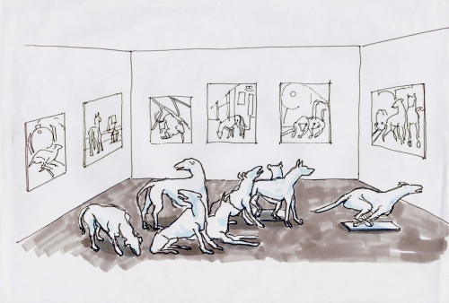 """esquisses et croquis préparatoires sculptures """"chiens"""""""