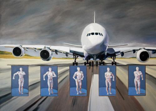 peinture,taxiway,flying,wings,tarmac,