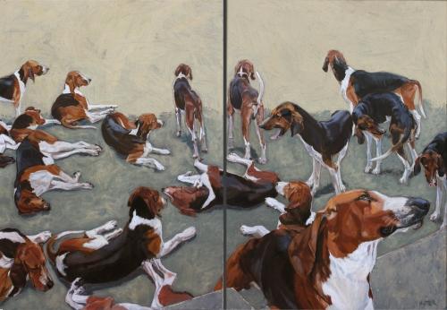 painting, peinture,helen uter,cheverny's dogs,diptyque,
