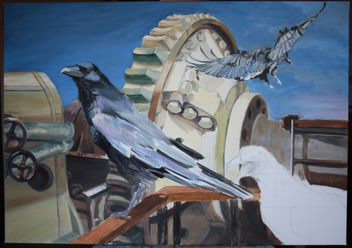 work in progress, seagull & crows
